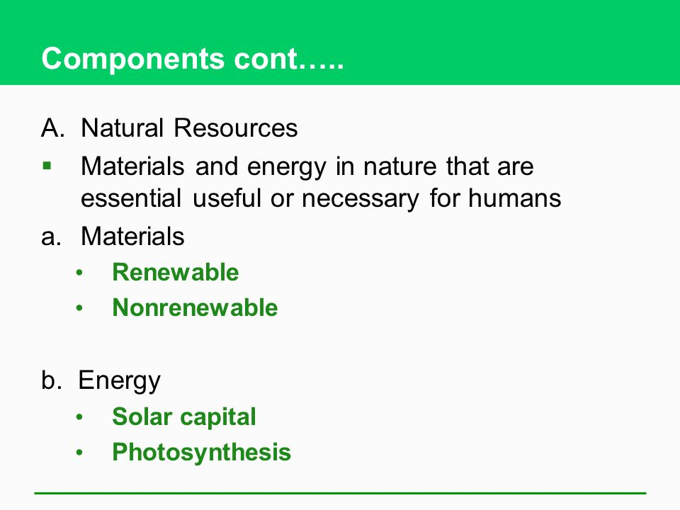Components cont….. A. Natural Resources
