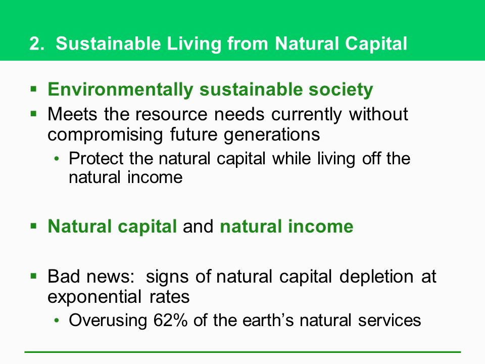 2. Sustainable Living from Natural Capital