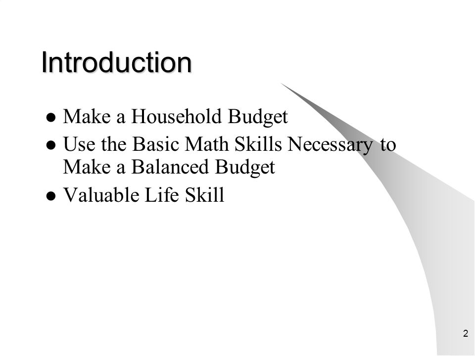 Introduction Make a Household Budget
