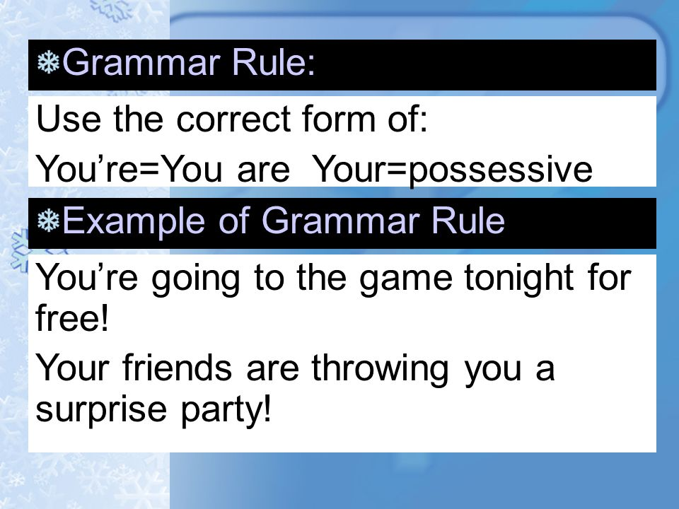 Grammar Rule: Use the correct form of: It's=it is Its=possessive ...
