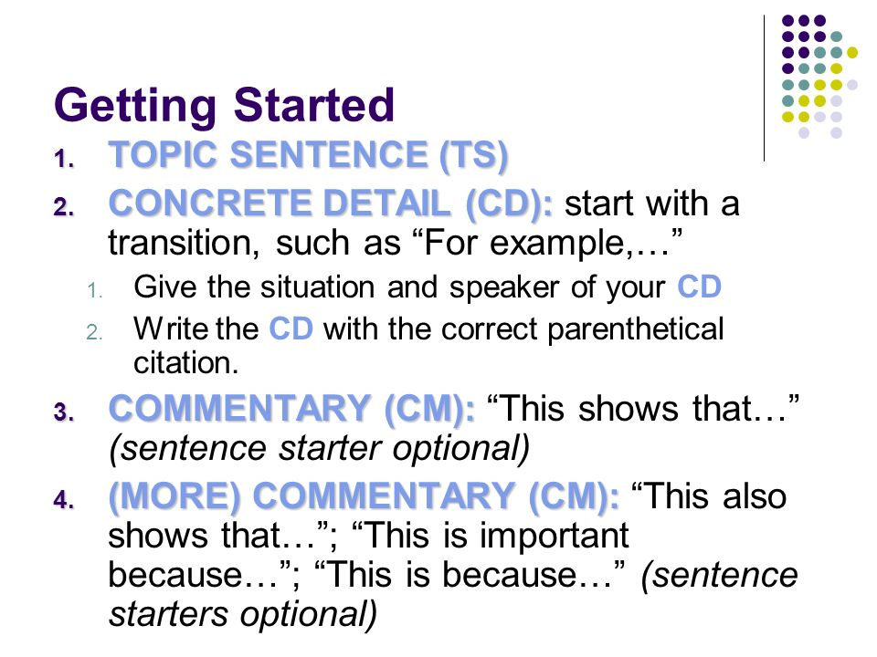 how to start a commentary sentence