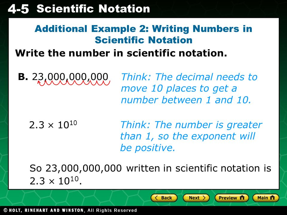 Additional Example 2: Writing Numbers in Scientific Notation