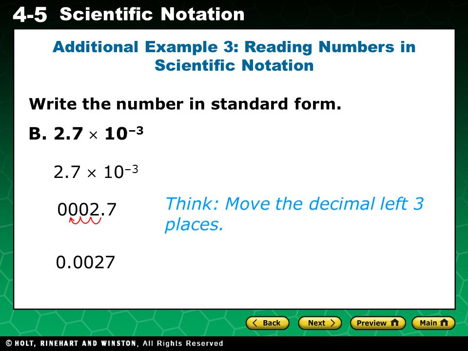 Additional Example 3: Reading Numbers in Scientific Notation