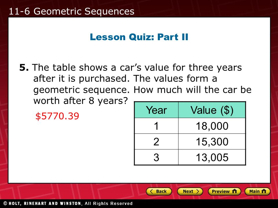Year Value ($) 1 18, , , Geometric Sequences