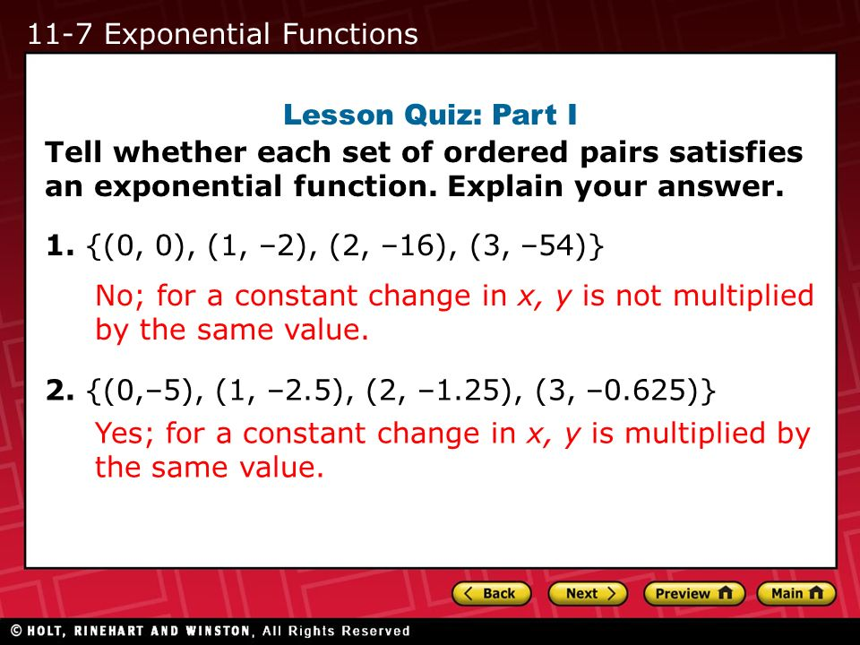 11-7 Exponential Functions