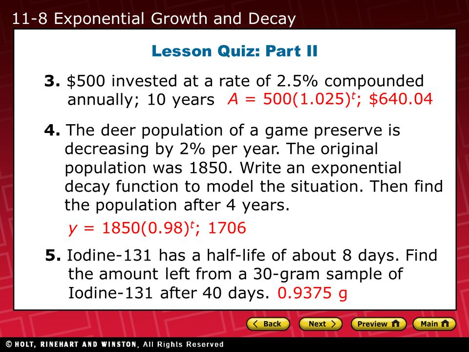 11-8 Exponential Growth and Decay