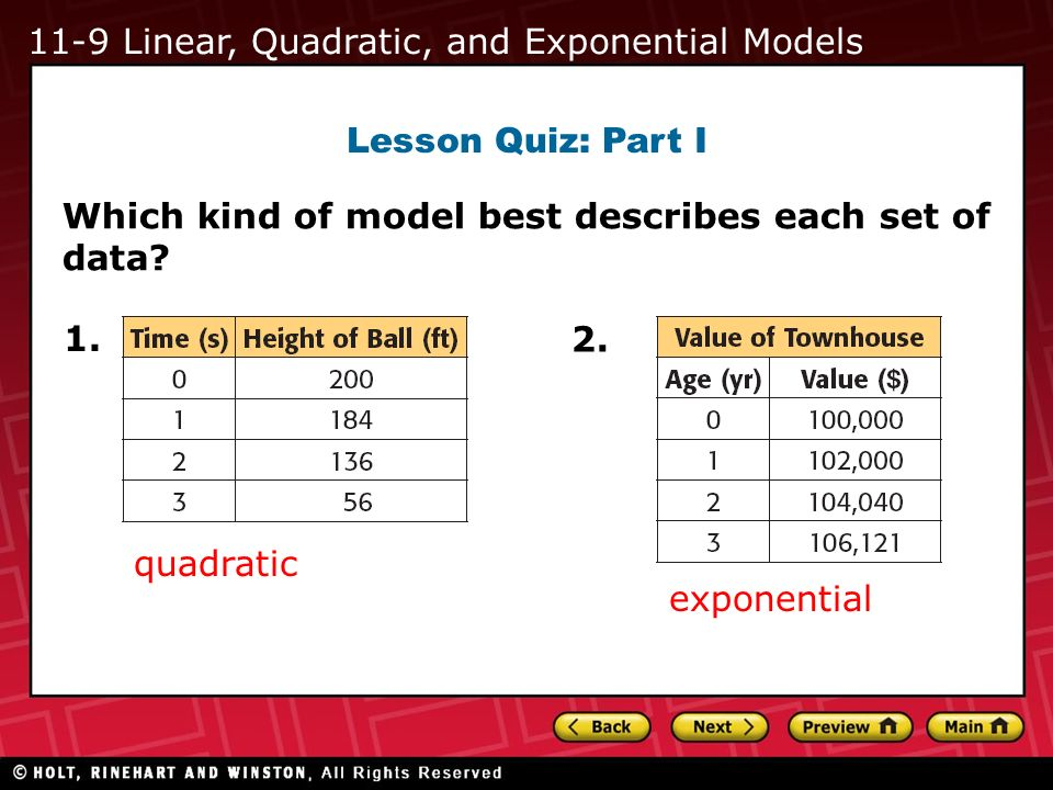 11-9 Linear, Quadratic, and Exponential Models