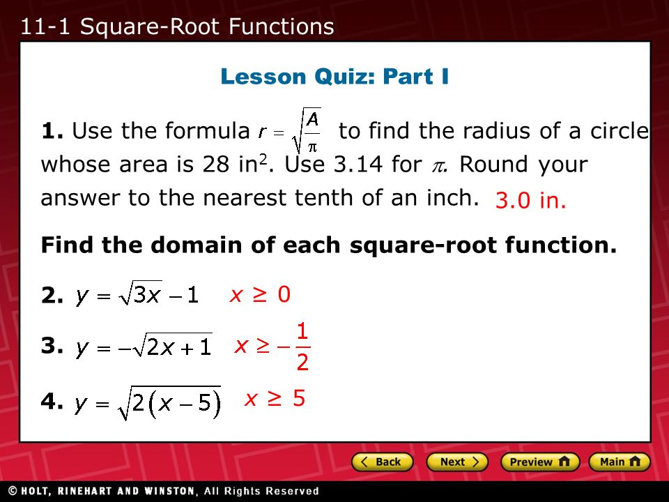 11-1 Square-Root Functions