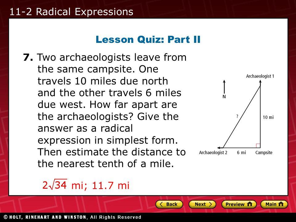 11-2 Radical Expressions Lesson Quiz: Part II.