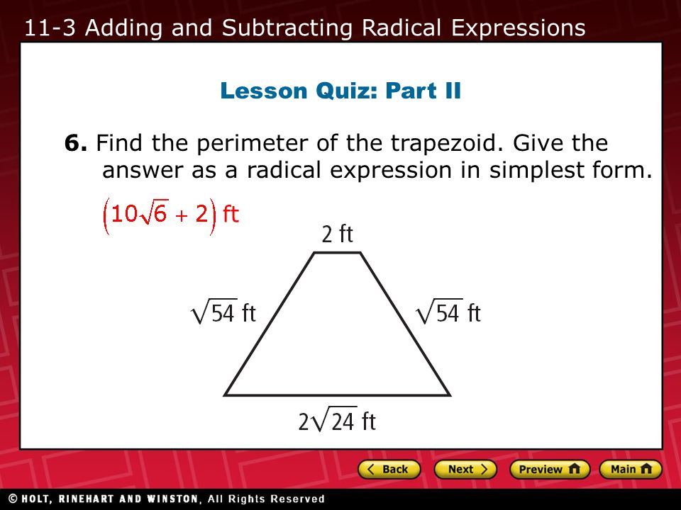 11-3 Adding and Subtracting Radical Expressions