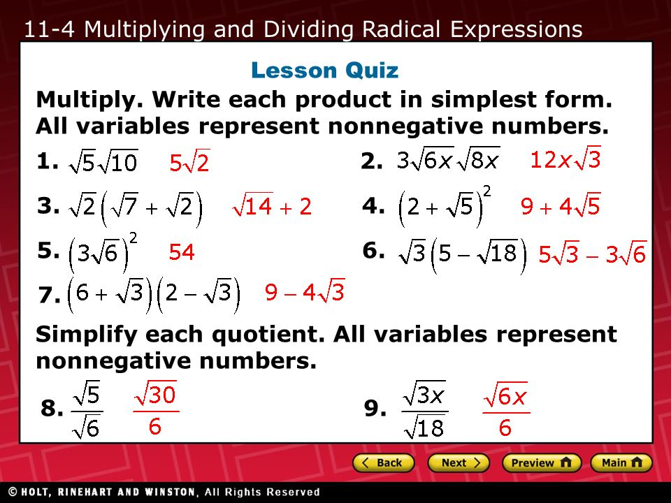 11-4 Multiplying and Dividing Radical Expressions