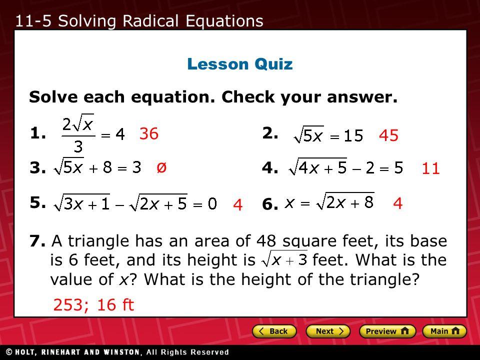 ø 11-5 Solving Radical Equations Lesson Quiz