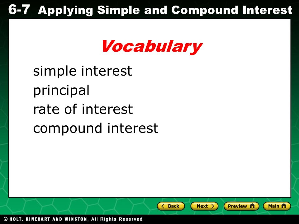 Vocabulary simple interest principal rate of interest