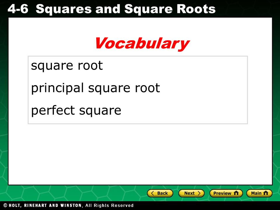 Vocabulary square root principal square root perfect square