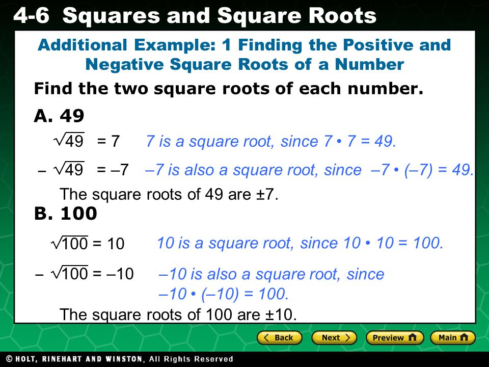 Additional Example: 1 Finding the Positive and Negative Square Roots of a Number