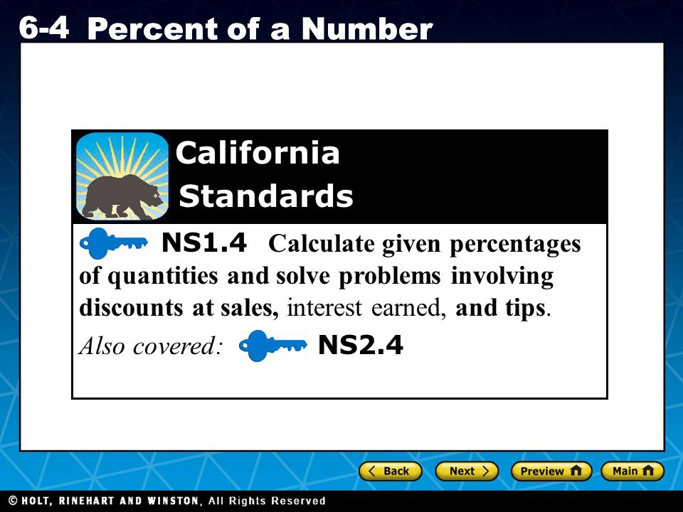 6-4 Percent of a Number Standards California
