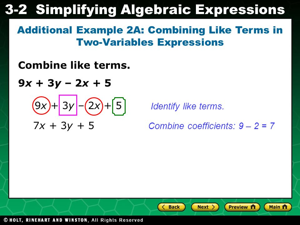 Additional Example 2A: Combining Like Terms in Two-Variables Expressions