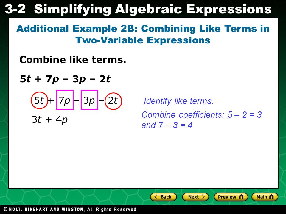 Additional Example 2B: Combining Like Terms in Two-Variable Expressions