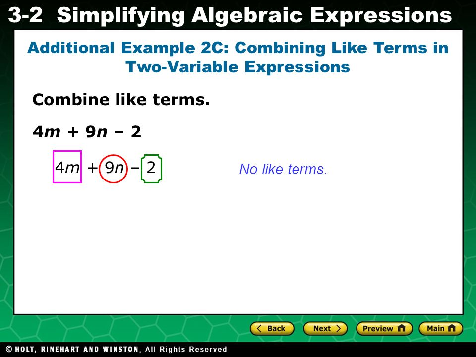 Additional Example 2C: Combining Like Terms in Two-Variable Expressions