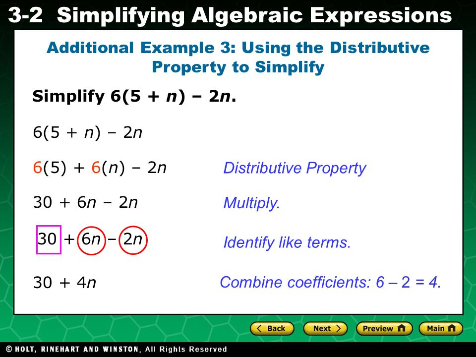 Additional Example 3: Using the Distributive Property to Simplify