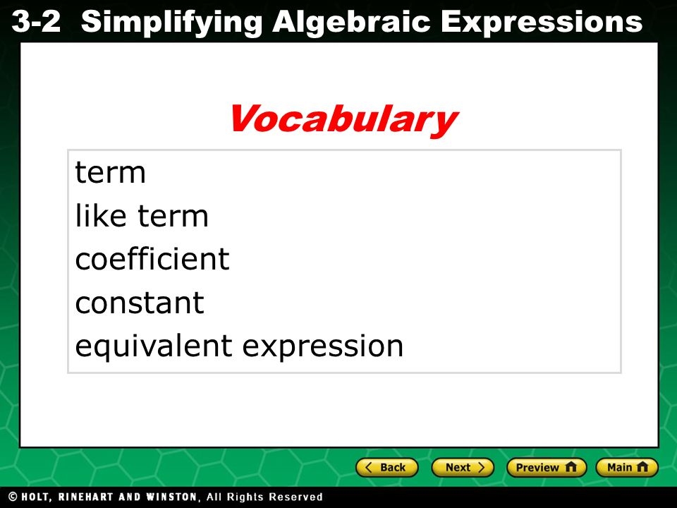 Vocabulary term like term coefficient constant equivalent expression