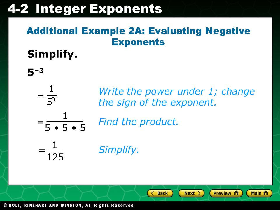 Additional Example 2A: Evaluating Negative Exponents