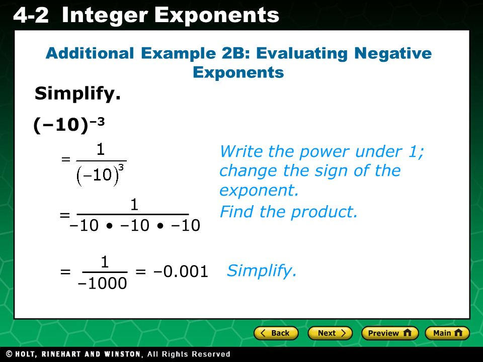 Additional Example 2B: Evaluating Negative Exponents