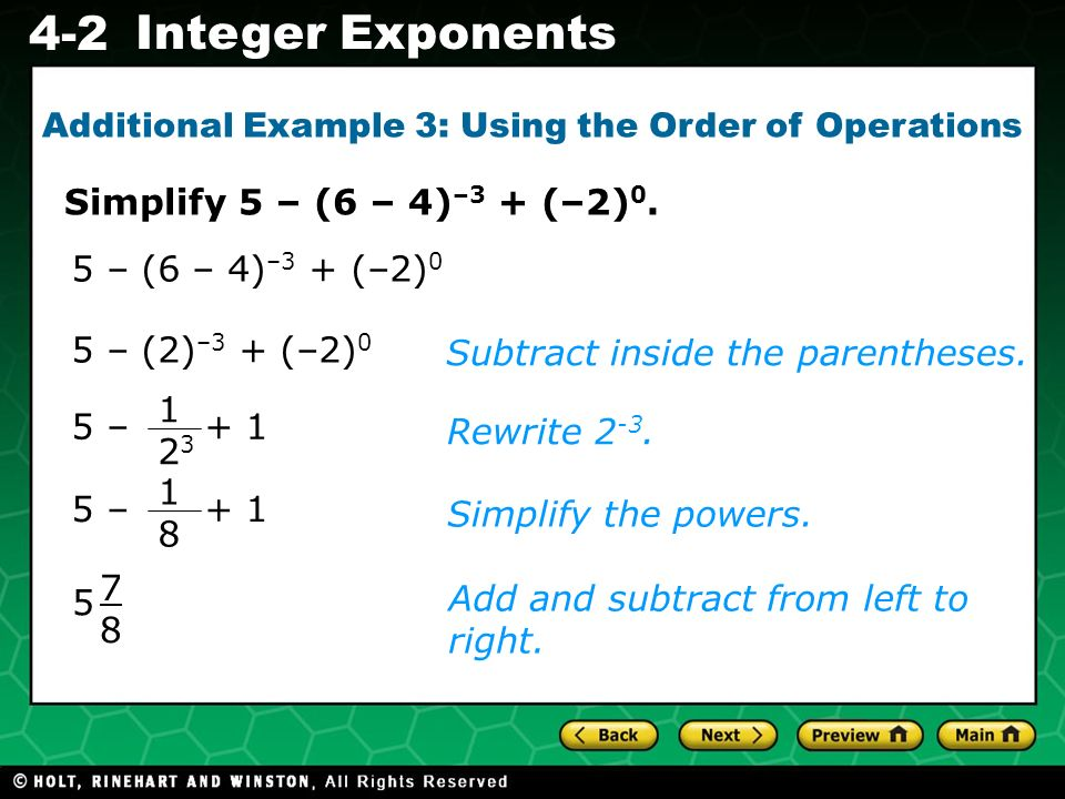 Additional Example 3: Using the Order of Operations