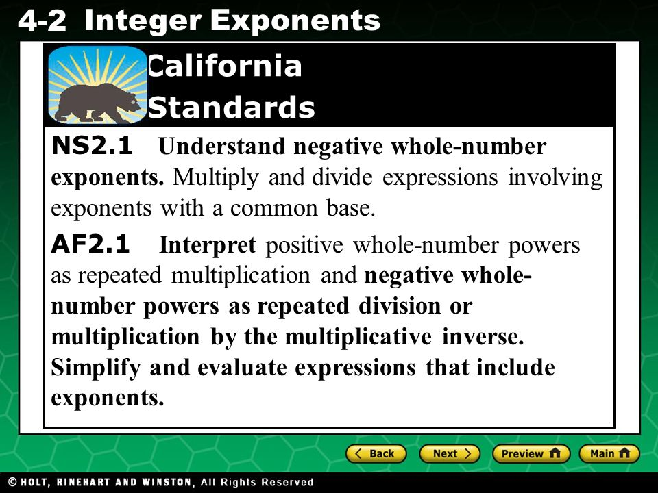 NS2. 1 Understand negative whole-number exponents