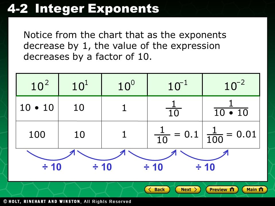 Notice from the chart that as the exponents decrease by 1, the value of the expression decreases by a factor of 10.
