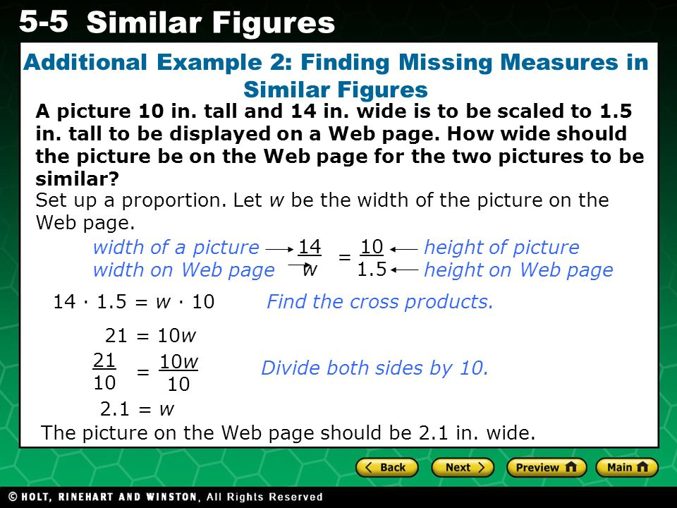 Additional Example 2: Finding Missing Measures in Similar Figures