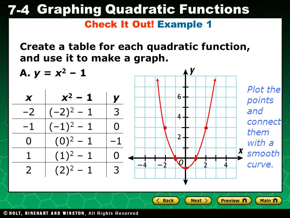 Check It Out! Example 1 Create a table for each quadratic function, and use it to make a graph. A. y = x2 – 1.