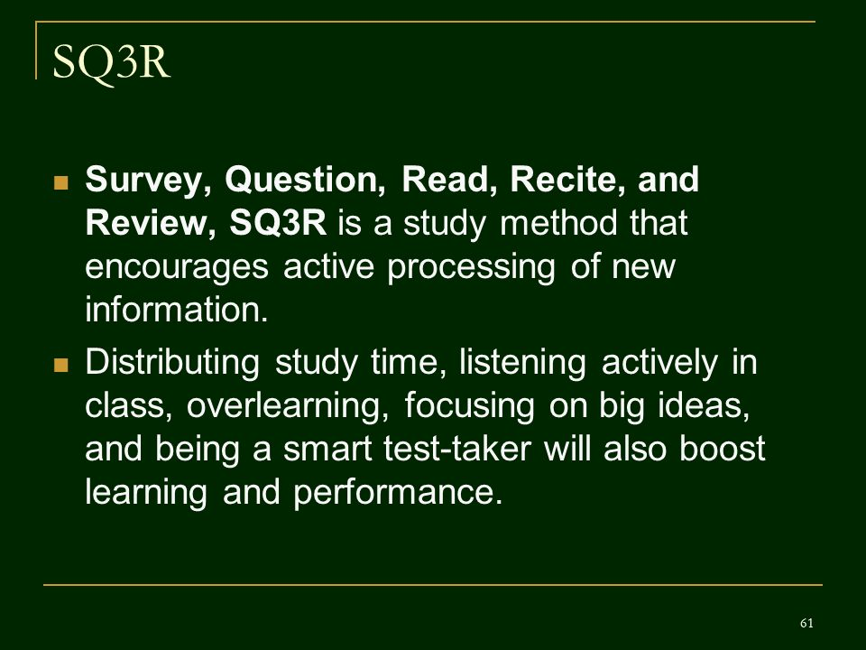 sq3r study method Sq3r improving reading comprehension sq3r provides a different method of reading textbooks that will most likely enhance understanding and retention of material.