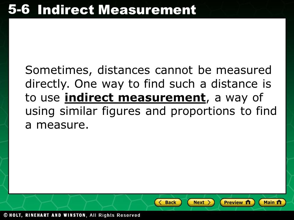 Sometimes, distances cannot be measured directly
