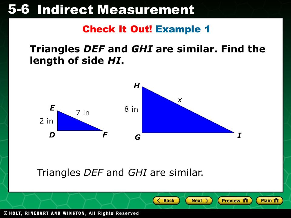 Triangles DEF and GHI are similar. Find the length of side HI.