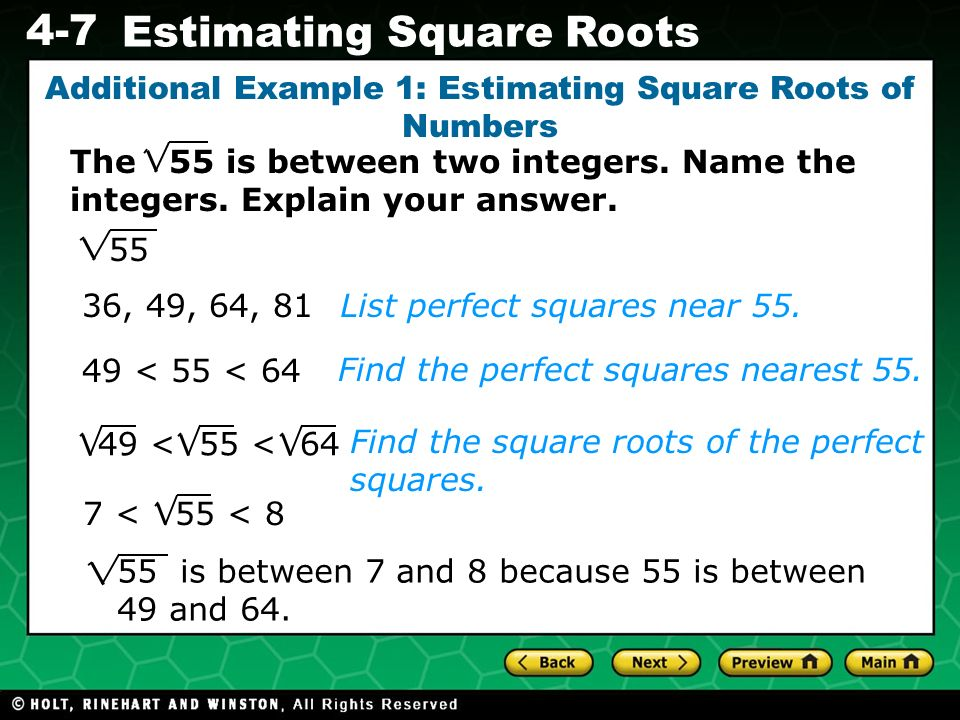 Additional Example 1: Estimating Square Roots of Numbers