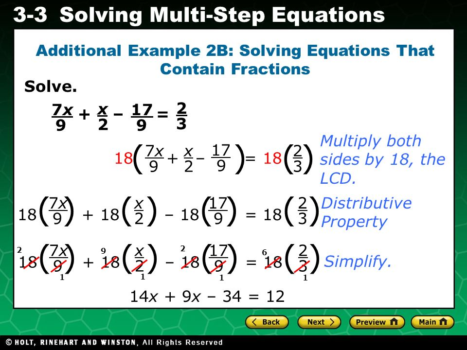 Additional Example 2B: Solving Equations That Contain Fractions