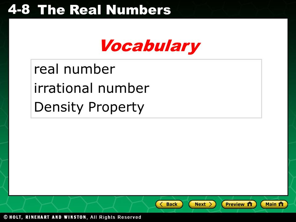 Vocabulary real number irrational number Density Property