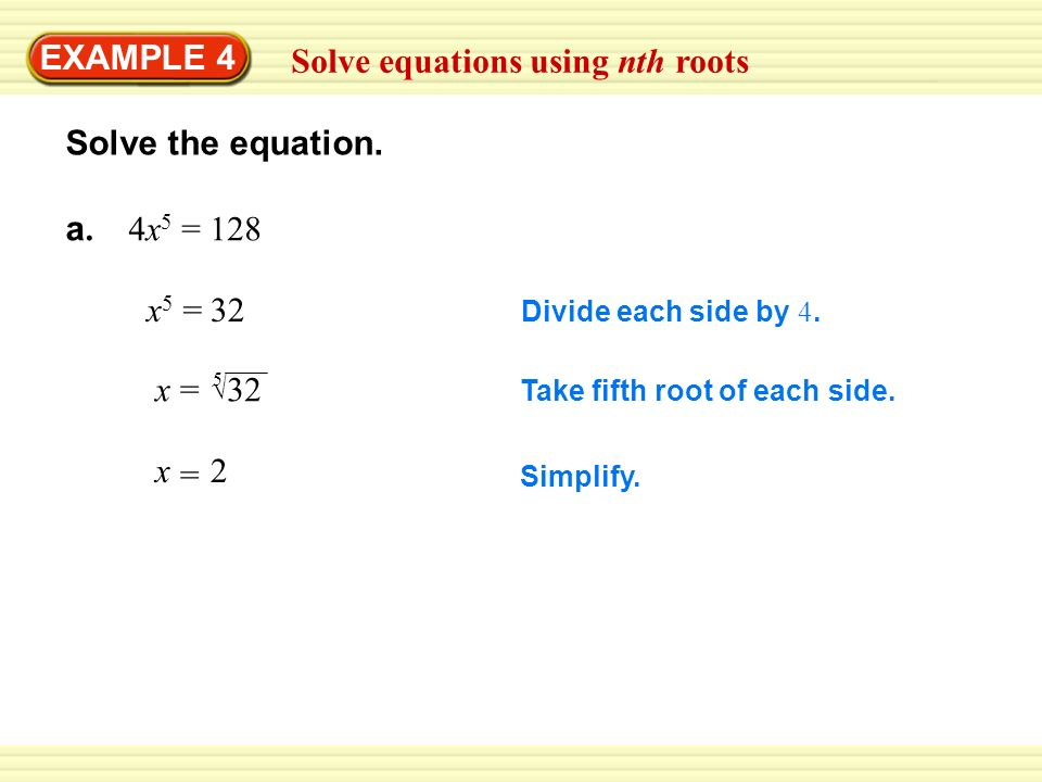 Solve equations using nth roots