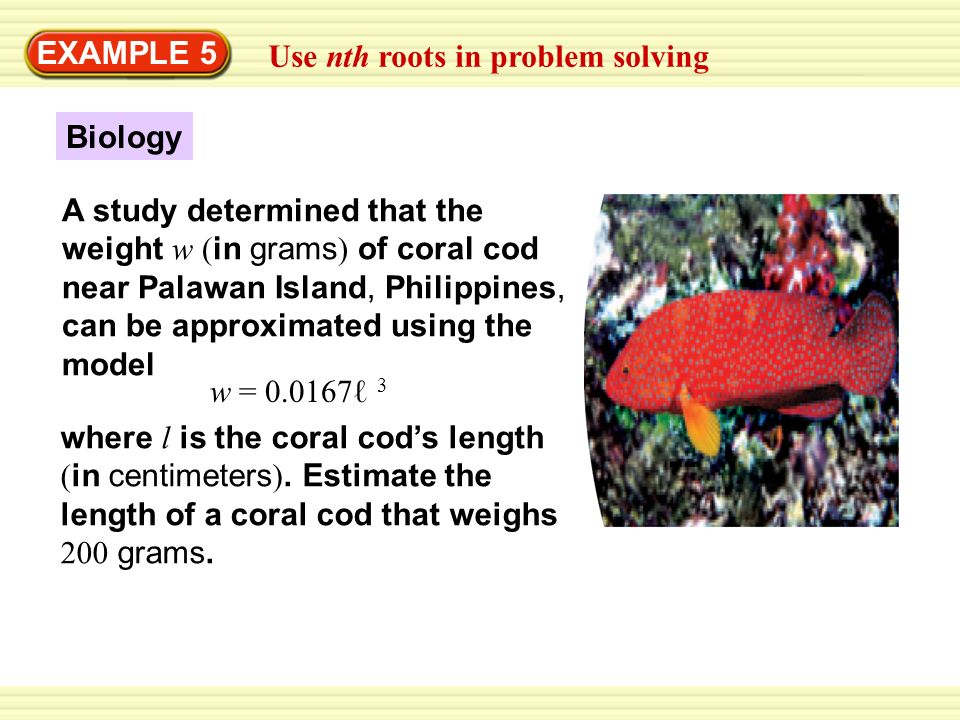 EXAMPLE 5 Use nth roots in problem solving. Biology.