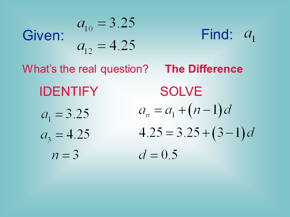 Given: Find: What's the real question The Difference IDENTIFY SOLVE