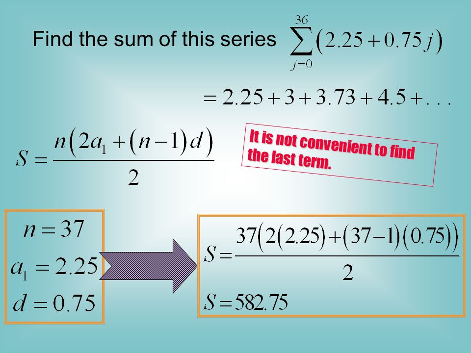 Find the sum of this series