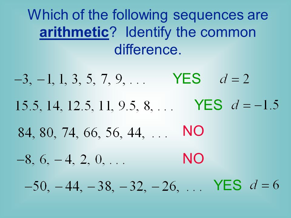Which of the following sequences are arithmetic