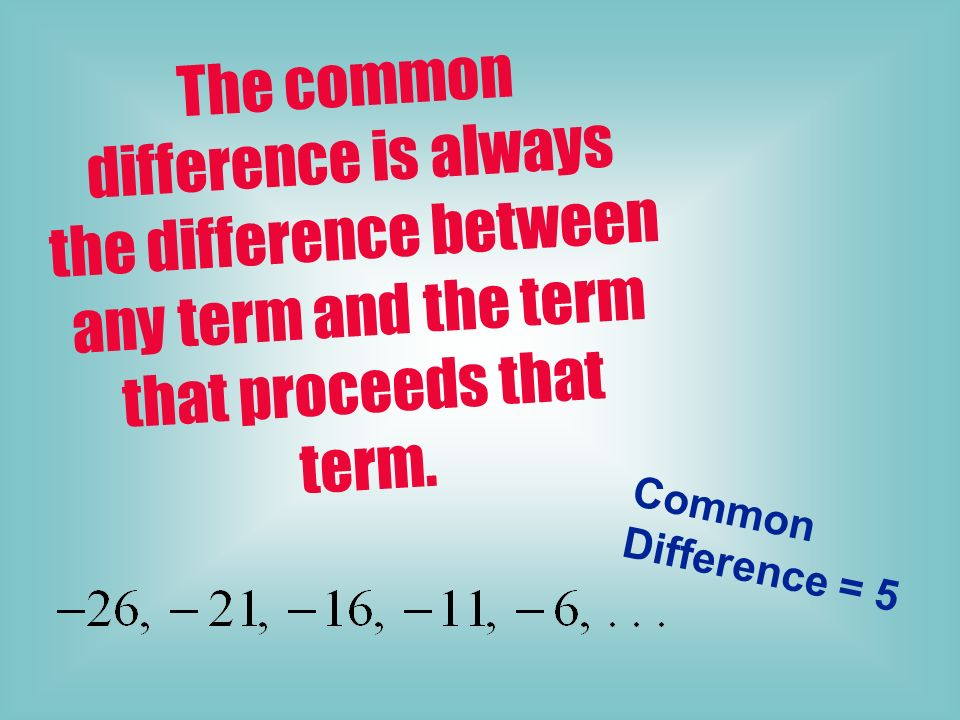 The common difference is always the difference between any term and the term that proceeds that term.