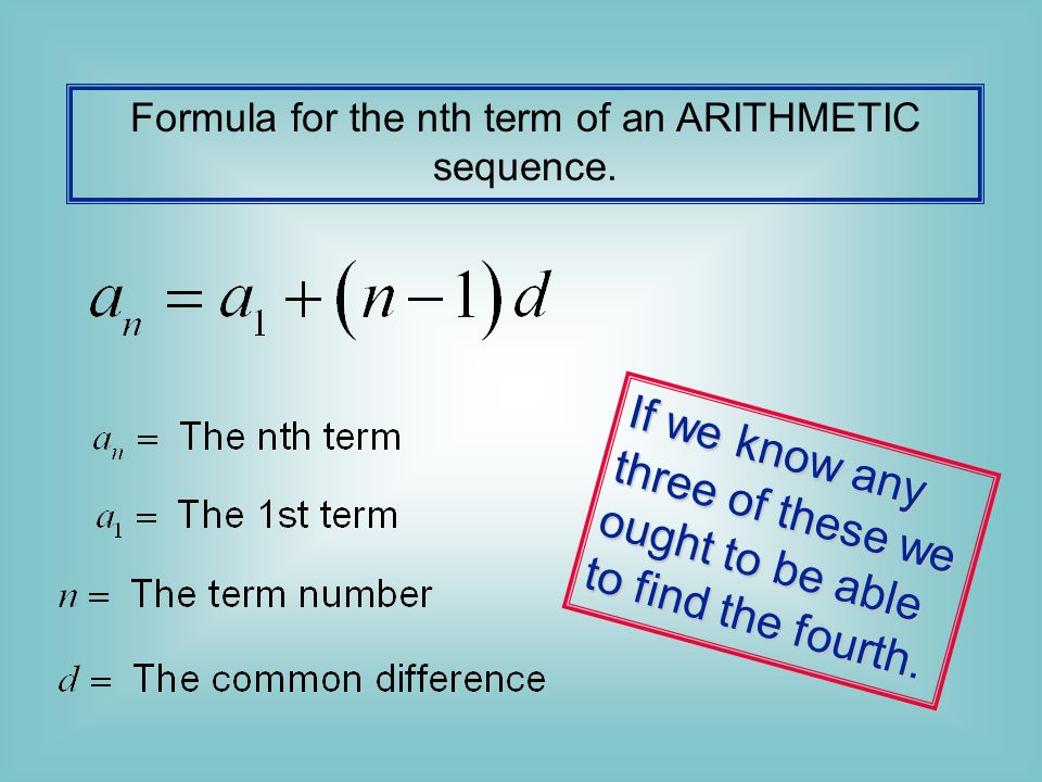 Formula for the nth term of an ARITHMETIC sequence.