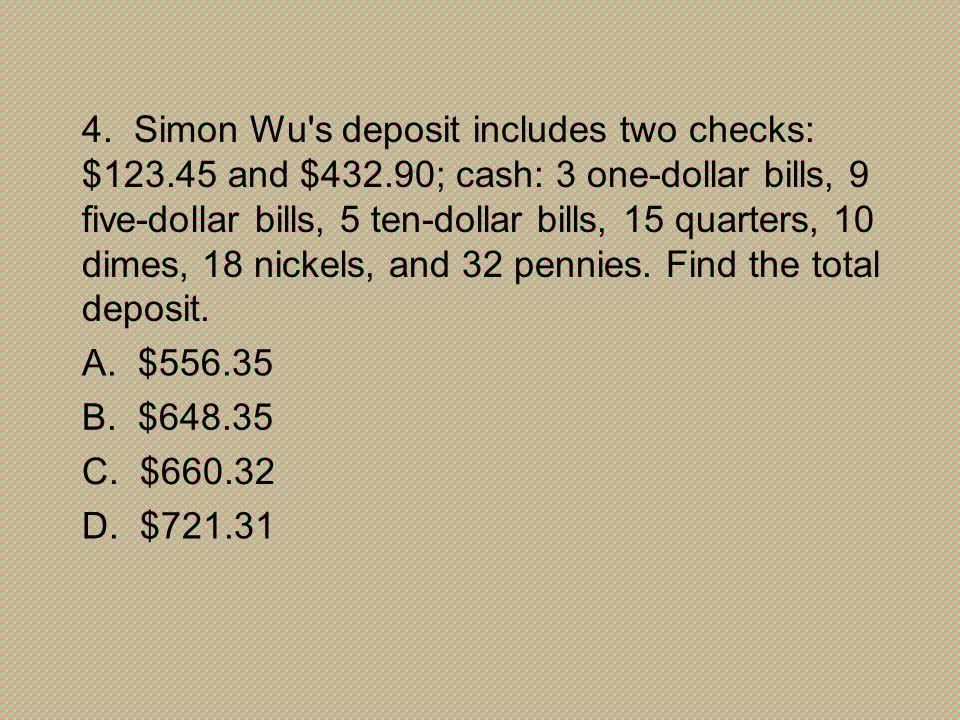 D. $721.31 C. $660.32. B. $648.35. A. $556.35.