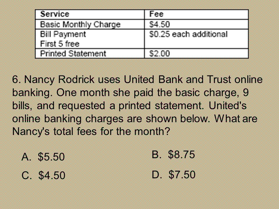 6. Nancy Rodrick uses United Bank and Trust online banking