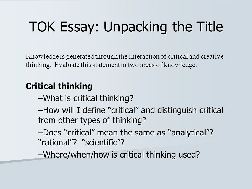 tok essay prescribed title 2 May 2013 tok essay prescribed titles  i am writing my essay on prescribed title 2 for may 2013 i am having trouble extracting knowledge issues.