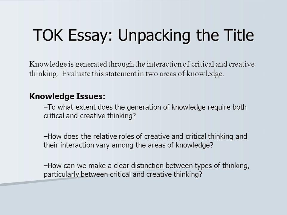 Example tok prescribed title essay
