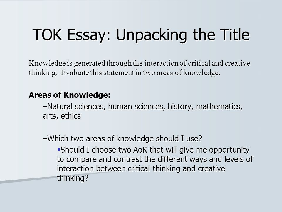 History knowledge framework essay